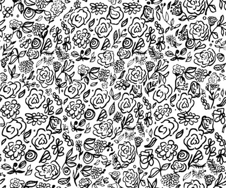 Floral Doodle vector pattern. Hand drawing style with many small flowers, leaves. Rose. Ditsy print. Seamless vector texture. Elegant template for fashion prints. For textile. Black and white 일러스트