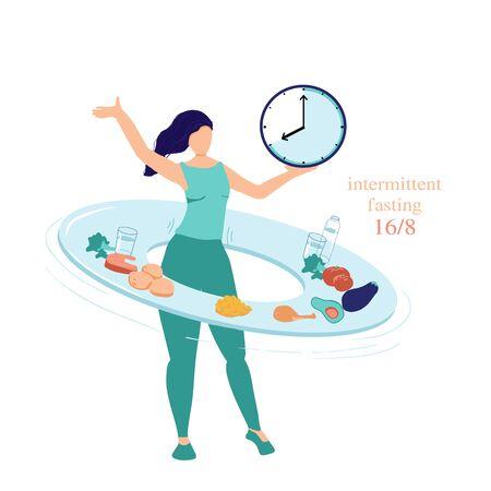 Concepto de ayuno intermitente 16 8. La mujer retuerce un aro - plato con comida y bebidas que simboliza el principio del ayuno intermitente que le da salud y pérdida de peso. Comer con tiempo limitado. Ilustración de vector