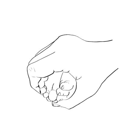 Outline sketch of mother hand holding baby tiny foot.