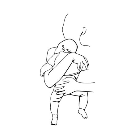 Mom with baby. Happy maternity.Hand draw single line art. Stock fotó - 137894816