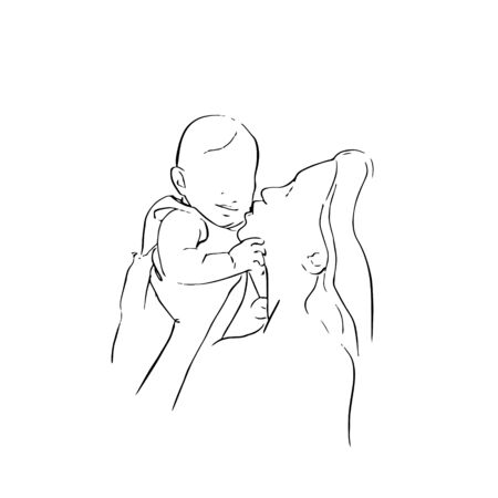 Mother hugs and kisses her baby. Baby and mother. Çizim