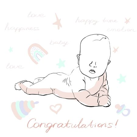 Baby newborn congratulation Cute Greeting card in the light colors. Baby shower. Modern design. Outline sketch of lying baby with toys, decorative rainbow, stars, hearts. Light green, beige, white