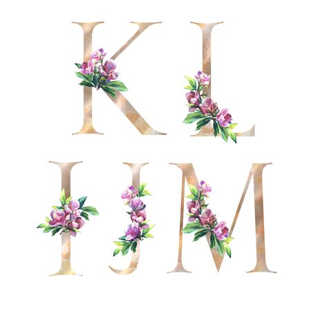 Floral Letters set with flowers of magnolia and leaves. K, L, M, J, I. Elegant Alphabet on the white background. Design for Wedding, inviting, greeting and birthday card Imagens