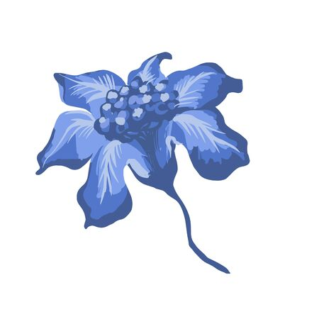 Stylized flower isolated on the white background. Iris. Vector illustration for greeting, wedding, floral design. Ornate. Indigo, blue