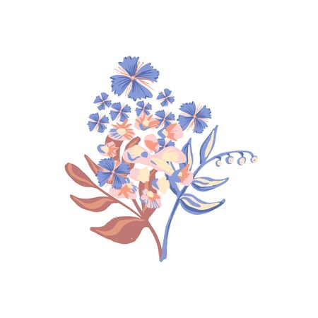 Festive Colorful motif flower isolated on the white background. Stylized Bouquet. Vector illustration for greeting, wedding, floral design. Ornate. Orange, Yellow, Peach, Indigo, blue colors Ilustrace