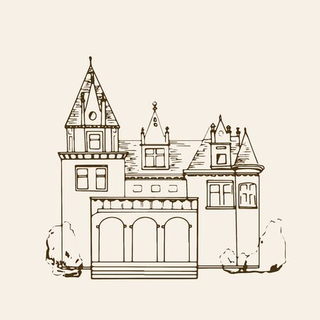 Sketched Castle. Isolated vector illustration. Palace. Hand drawn linear ink sketch. Vintage Иллюстрация