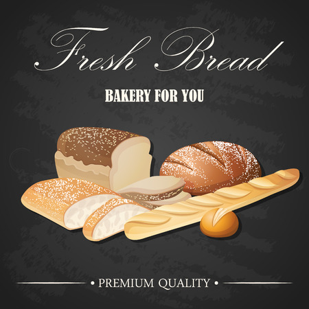 rye bread: Vector decorative fresh bread set banner on blackboard background. Different types of bread - french baguette, rye bread, ciabatta, wheat bread, sliced bread Illustration