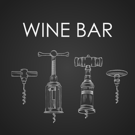 cork screw: Vector hand drawn vintage and modern corkscrews and corks wine bar background
