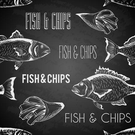 Vettore disegnato a mano di pesce e patatine fritte seamless su lavagna