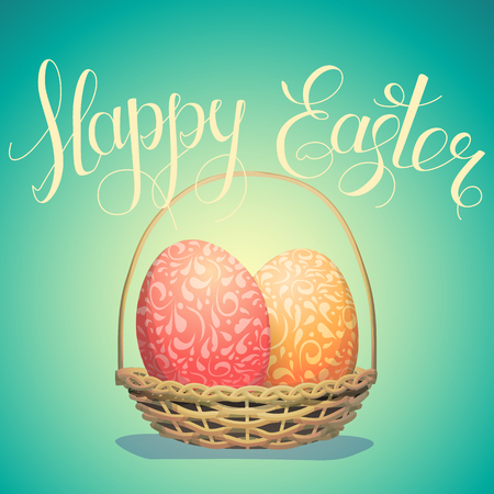 Vector drawn easter greeting banner with happy easter lettering and basket with colored patterned eggs