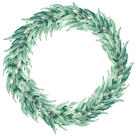Eucalyptus  leaves vector watercolor wreath. Template for wedding invitation and save the date cards.  イラスト・ベクター素材