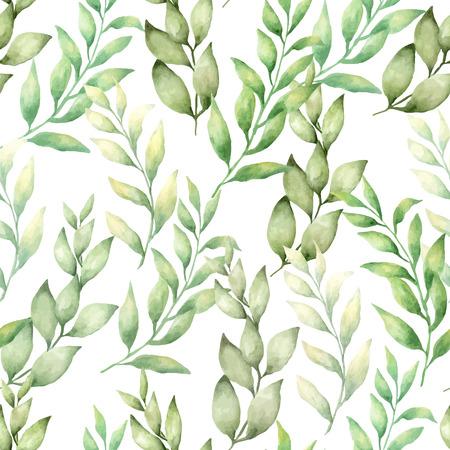 벡터 수채화 손으로 녹색 나뭇잎과 나뭇 가지의 difirent 유형과 원활한 패턴을 그립니다