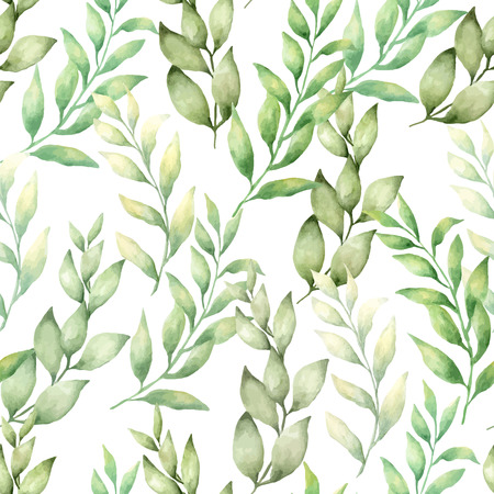 vector watercolor hand draw seamless pattern with difirent type of green leaves and branches Иллюстрация