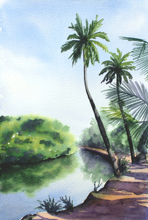 Watercolor tropical landscape with palms, bushes, river and blue sky.