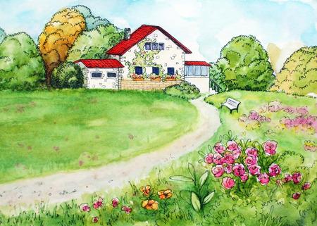 Aquarelle main dessiné rural beau paysage ensoleillé avec pré, jardin, banc et une route menant à la maison blanche Banque d'images - 92847085