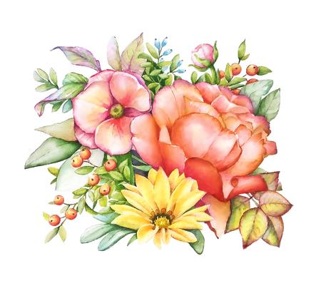 Waterverfillustratie van boeket met roze pioen, gele en oranje bloemen, groene bladeren, blauwe en oranje bessen.