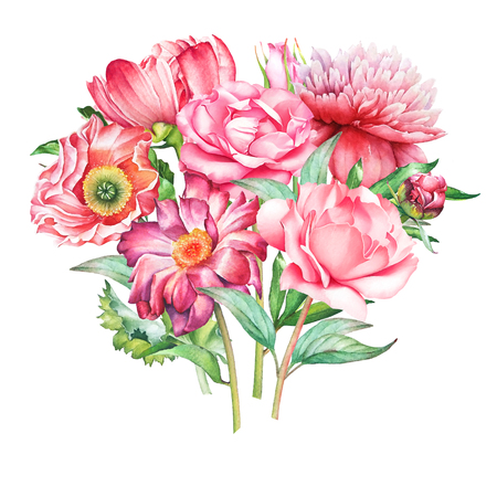 Beautiful watercolor hand drawn bouquet with red and pink flowers isolated on white background. Stock Photo
