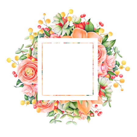 Watercolor floral frame with empty space for text. Stock Photo
