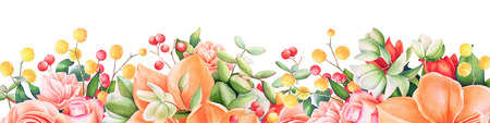 Background with watercolor summer flowers and berries. Useful for design of banners, cards, greetings and invitations.