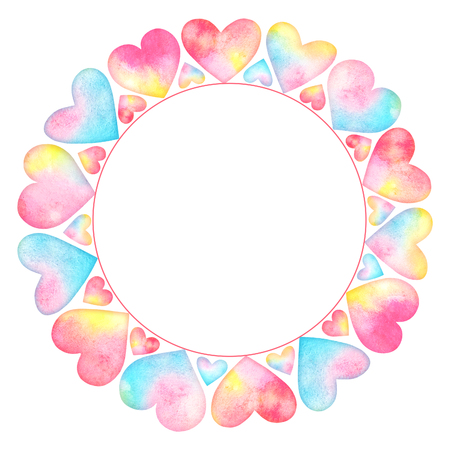 Watercolor frame with multicolor hearts and empty space for text isolated on white background. Colorful romantic design for wedding invitations, greeting cards, scrapbook element.