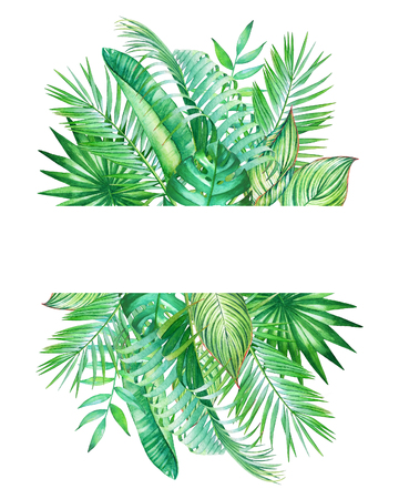 Watercolor frame with tropical leaves isolated on white background. Illustration for design of wedding invitations, greeting cards with space for text.