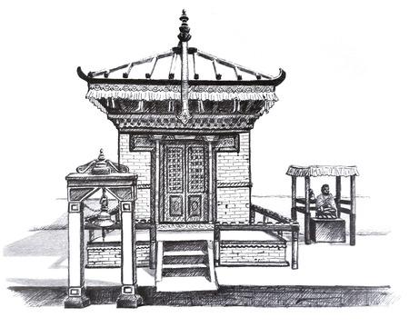 Hand drawn illustration of small buddhist temple in Kathmandu, Nepal 写真素材
