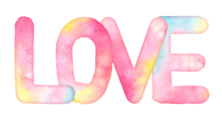 Watercolor hand drawn word LOVE with strains isolated on white background. Useful as design element for greeting, Valentines day, wedding cards, fabric, scrapbook element Stock Photo