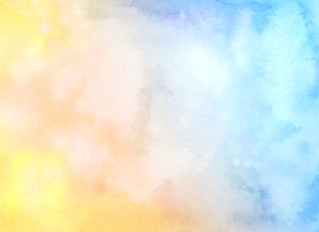 Watercolor hand drawn abstract horizontal background with strains. Gradient yellow-blue watercolor fill.