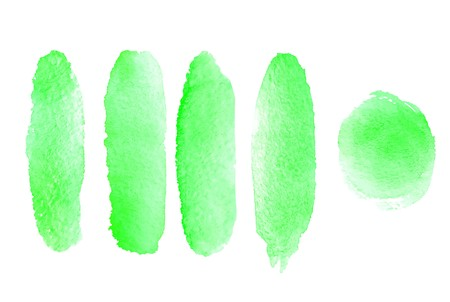 Set of hand painted watercolor textured backgrounds isolated on white. Collection of green brush strokes.