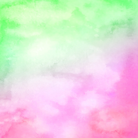 Watercolor hand drawn abstract horizontal background with strains. Green-lilac gradient watercolor fill. Stock Photo