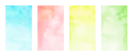 Multicolor hand painted watercolor rectangles isolated on white background. Color tips for graphic design. Banco de Imagens