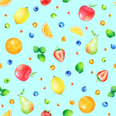 Pattern with hand drawn cute watercolor fruits and berries isolated on light blue background. Stock Photo