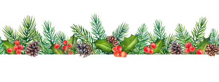 Seamless pattern, decorative Christmas floral element with watercolor branches of holly with berries and pine tree with cones isolated on white background.