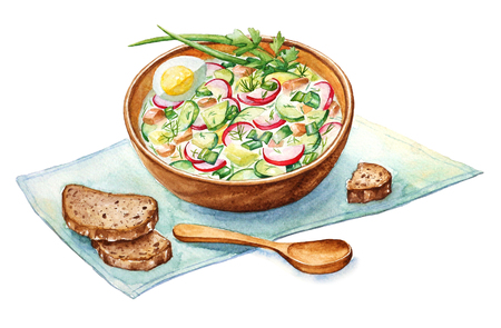 Watercolor illustration of traditional russian summer soup Okroshka with brown bread. Фото со стока