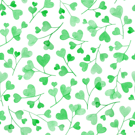 Seamless pattern with watercolor hand drawn branches with green heart shaped leaves isolated on white background. Useful for design of the Valentines day items, weddings, web, cards, textile and other.