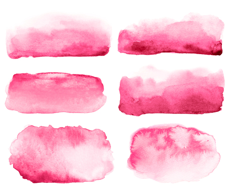 Collection of watercolor hand drawn pink red brush strokes.