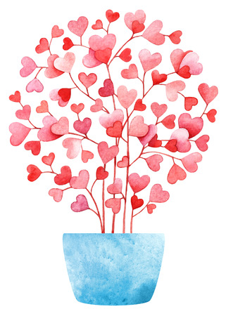 Watercolor heart shaped leaves in pink Useful for weddings, web, banners, cards and other.