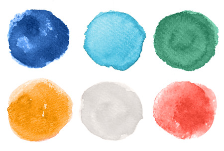 A set of abstract hand drawn watercolor grungy brush strokes isolated on white background