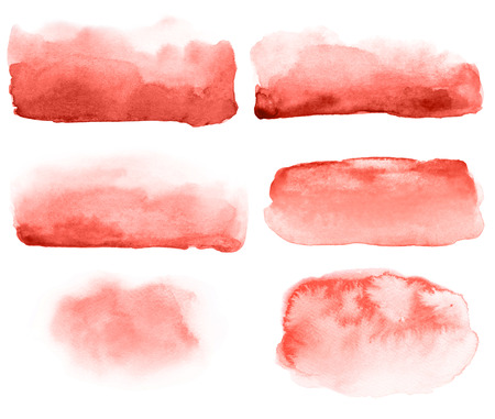 Hand drawn brush strokes. Abstract backgrounds in trendy color living coral