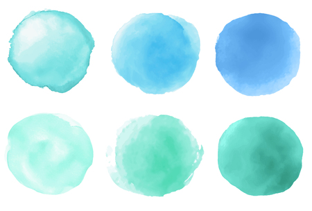 A set of hand drawn watercolor blue green brush strokes on white background Stok Fotoğraf
