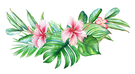 Watercolor composition with tropical flowers and plants