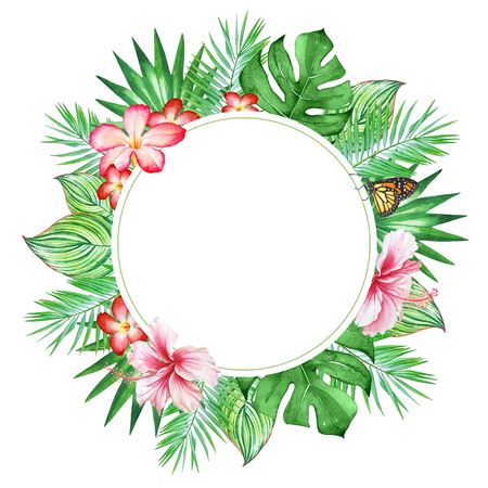 Floral circular card template with watercolor tropical plants and flowwers
