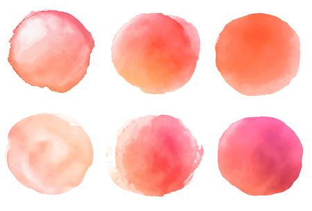 A set of watercolor orange brush strokes