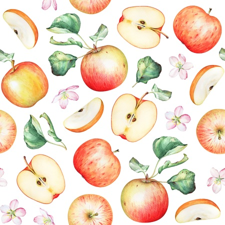 Seamless pattern with watercolor red apples