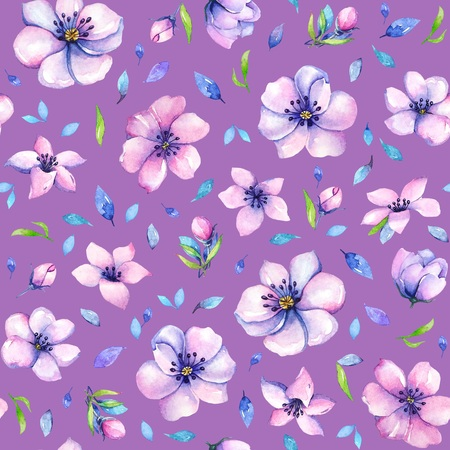 Pink flowers with blue leaves on purple background. Stok Fotoğraf