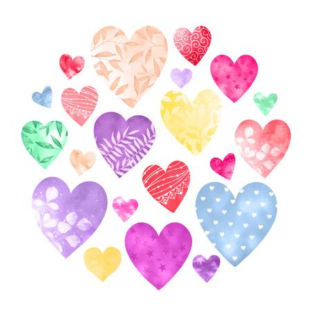 Watercolor collection of decorative hearts in joyful colors. Stok Fotoğraf