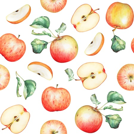 Red apples with green leaves on white background