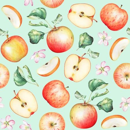 Apple fruits on green background Stok Fotoğraf