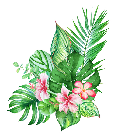 Beautiful bouquet with watercolor tropical plants and flowers