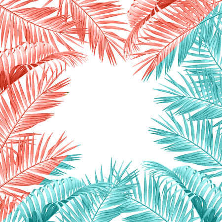 Tropical frame with watercolor palm branches in trendy colors light blue and living coral.
